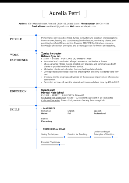 Zumba Instructor Resume Example