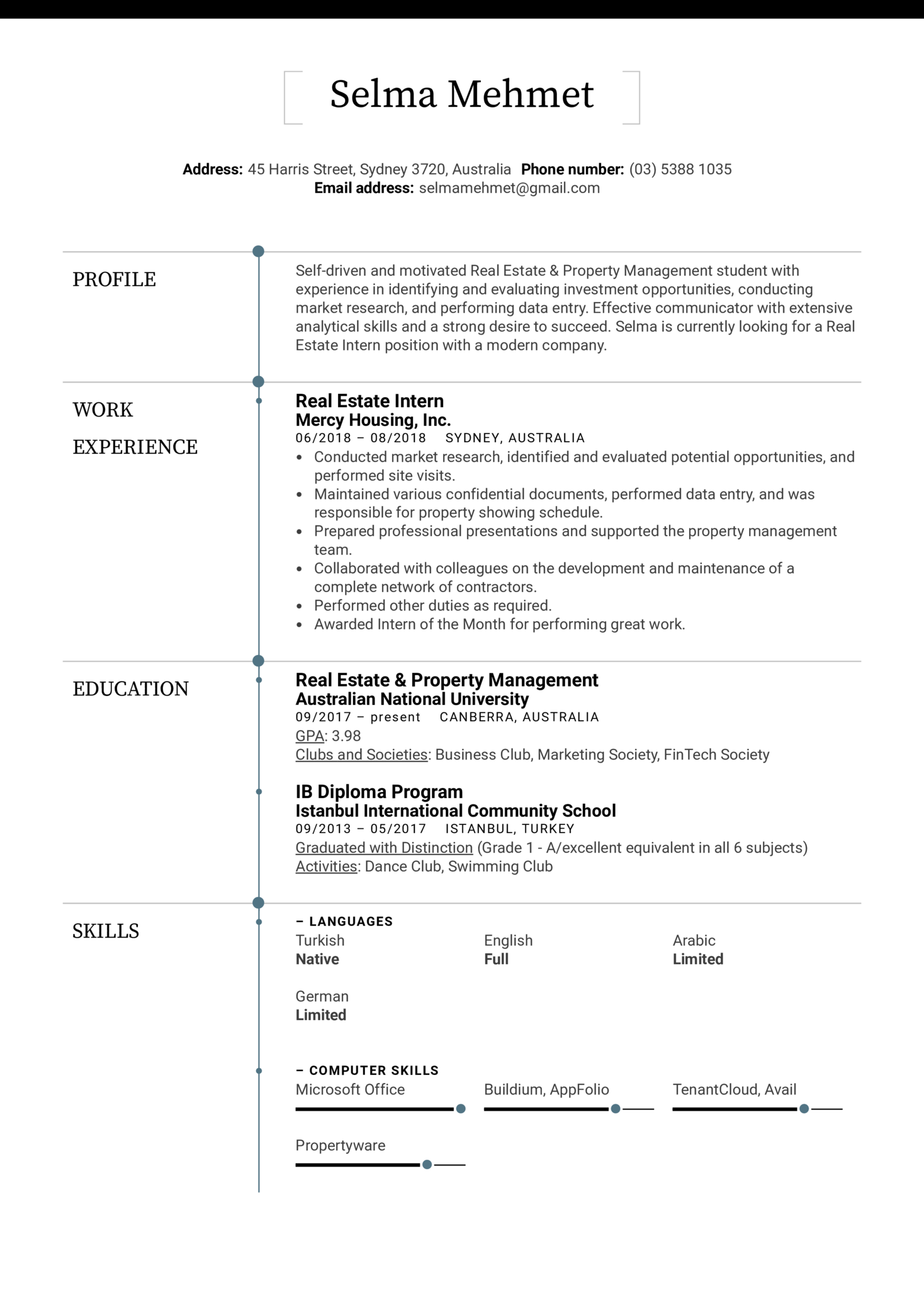 Resume Examples By Real People Estate Intern Sample