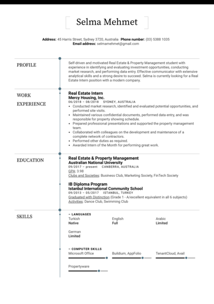 Real Estate Intern Resume Sample