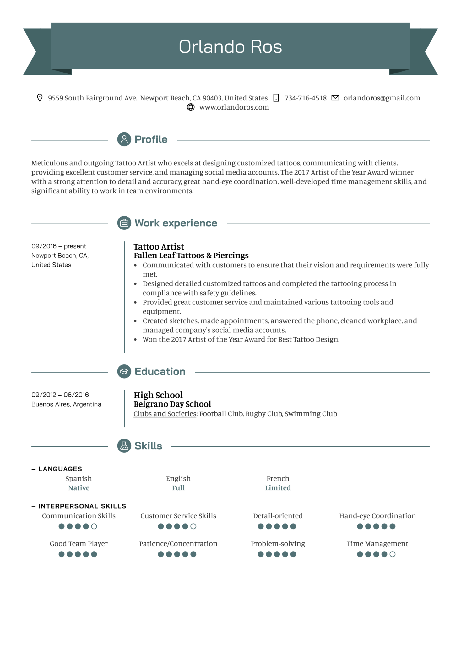 Resume Examples By Real People Tattoo Artist Resume Sample