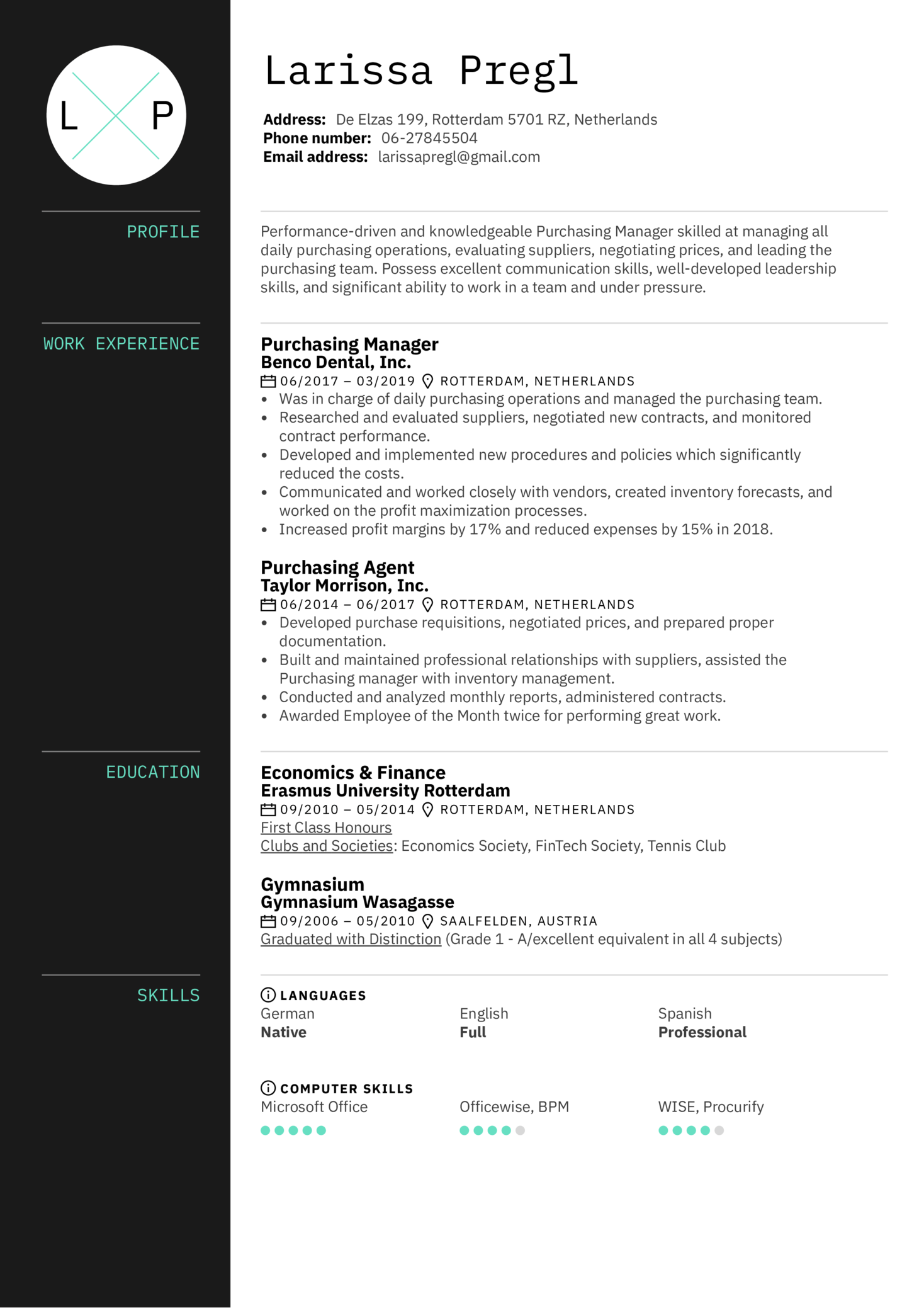 Resume Examples By Real People Purchasing Manager Resume