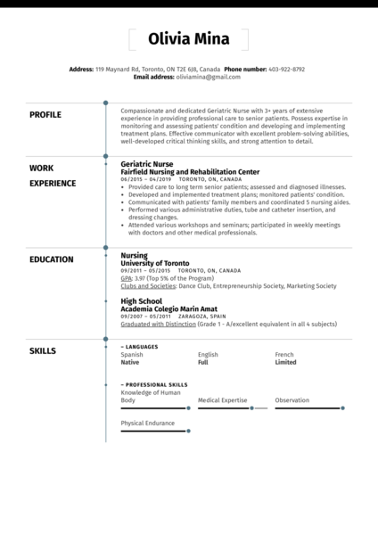 Geriatric Nurse Resume Sample