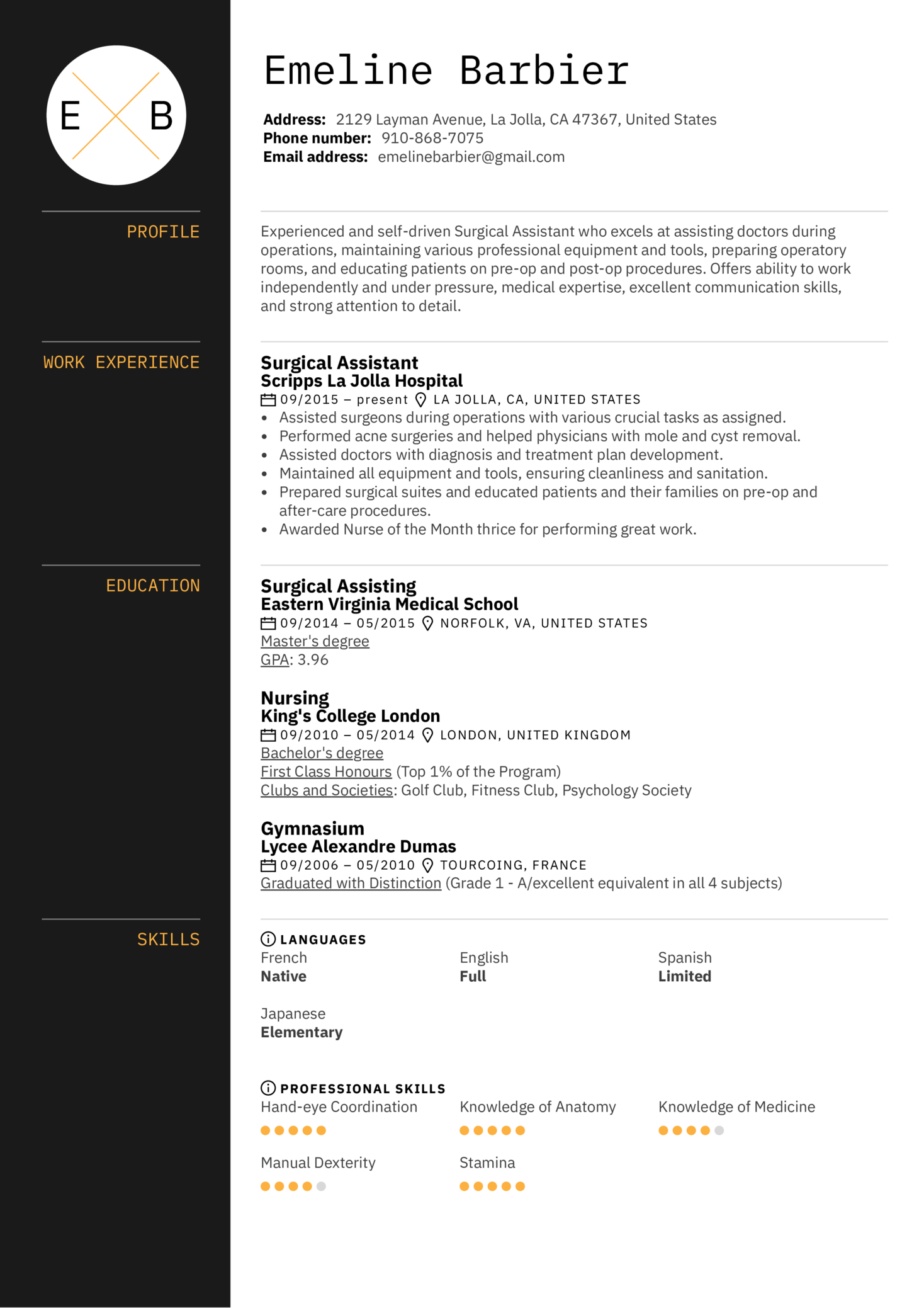 resume examples by real people  surgical assistant resume