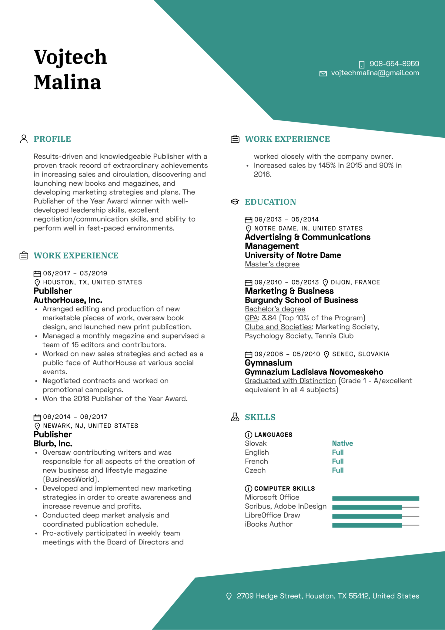 Resume Examples by Real People: Publisher Resume Template | Kickresume