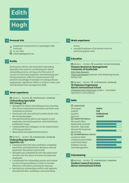 Onboarding Specialist Resume Sample