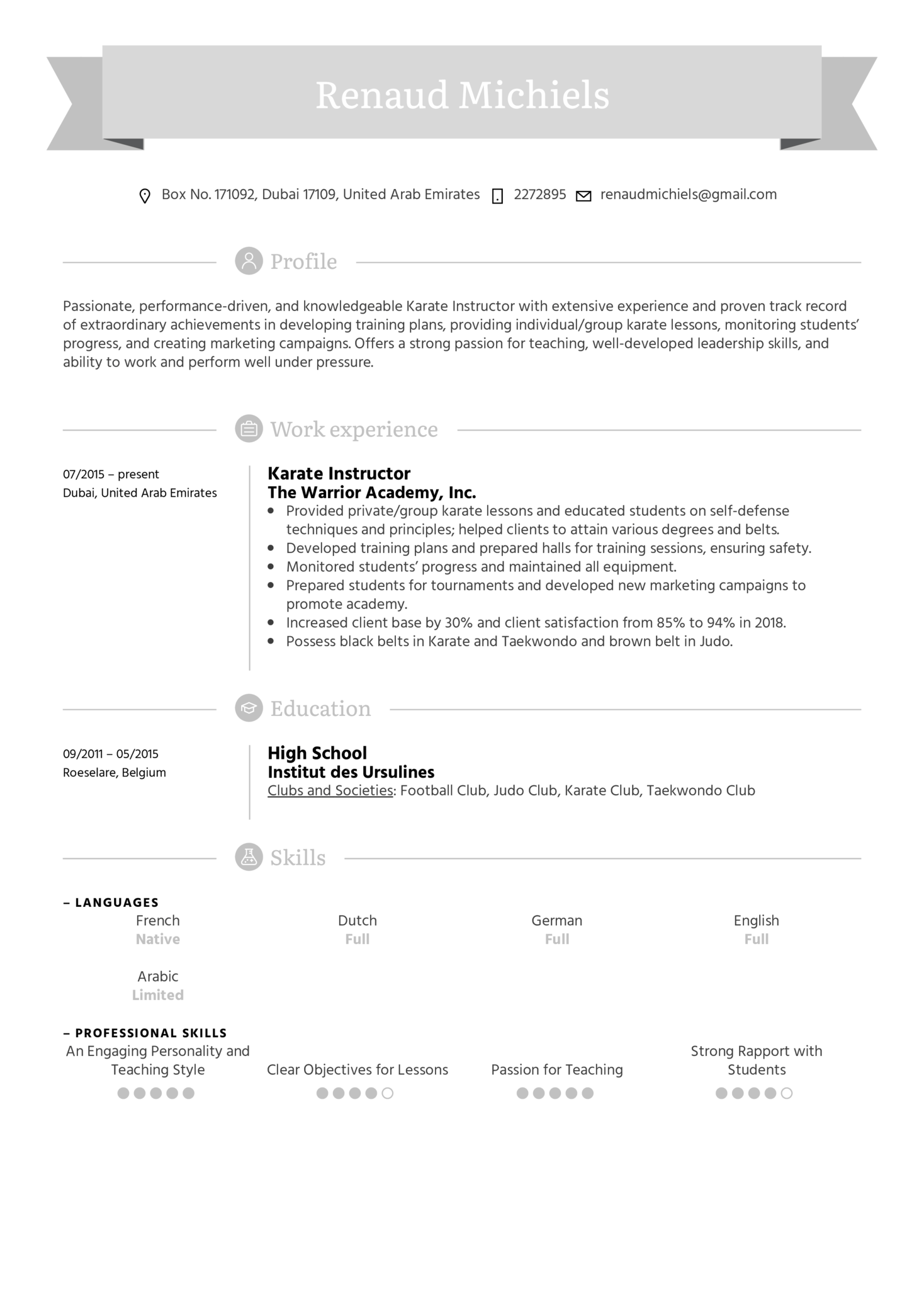 Karate Instructor Resume Sample