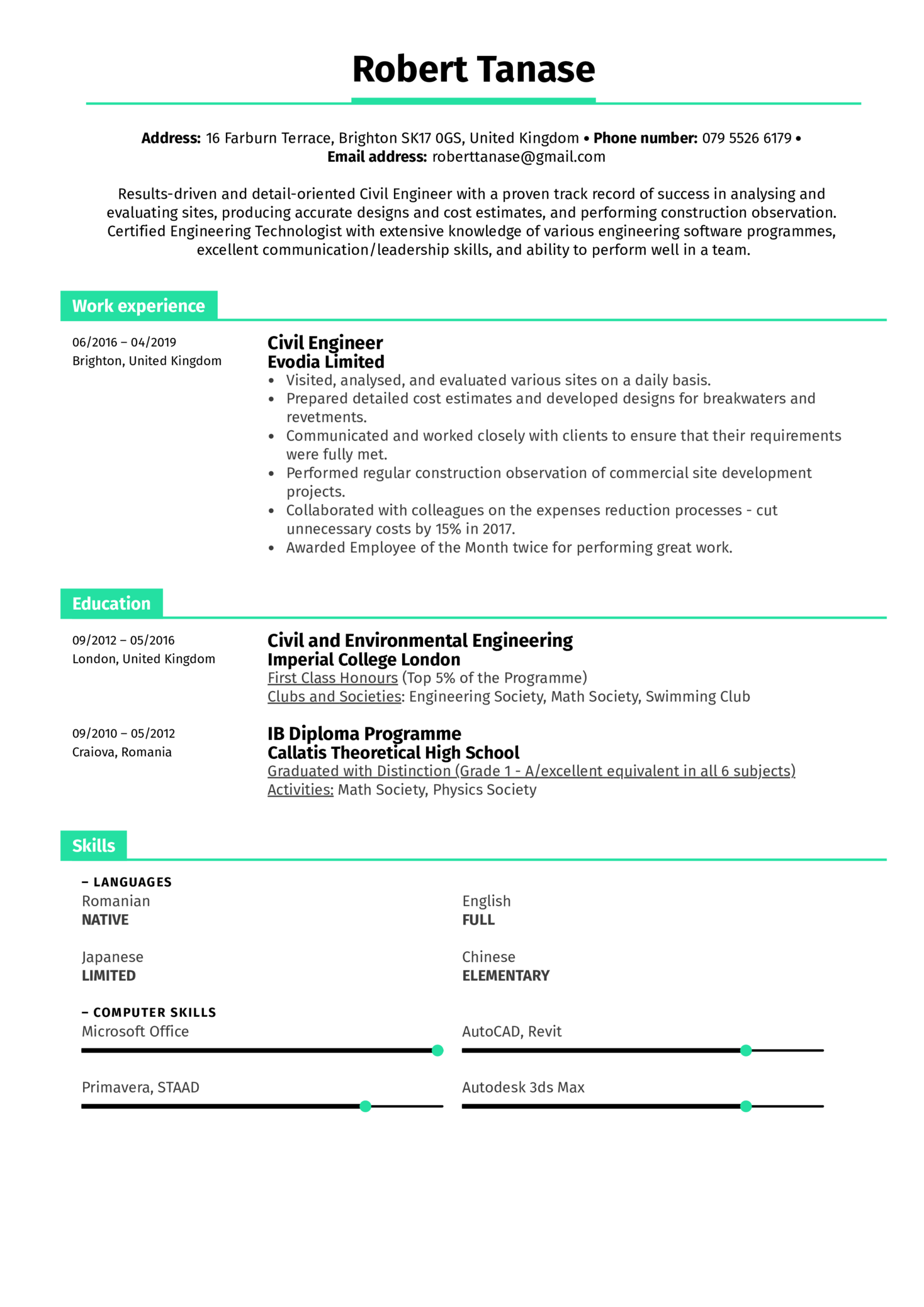 resume examples by real people  civil engineer resume example