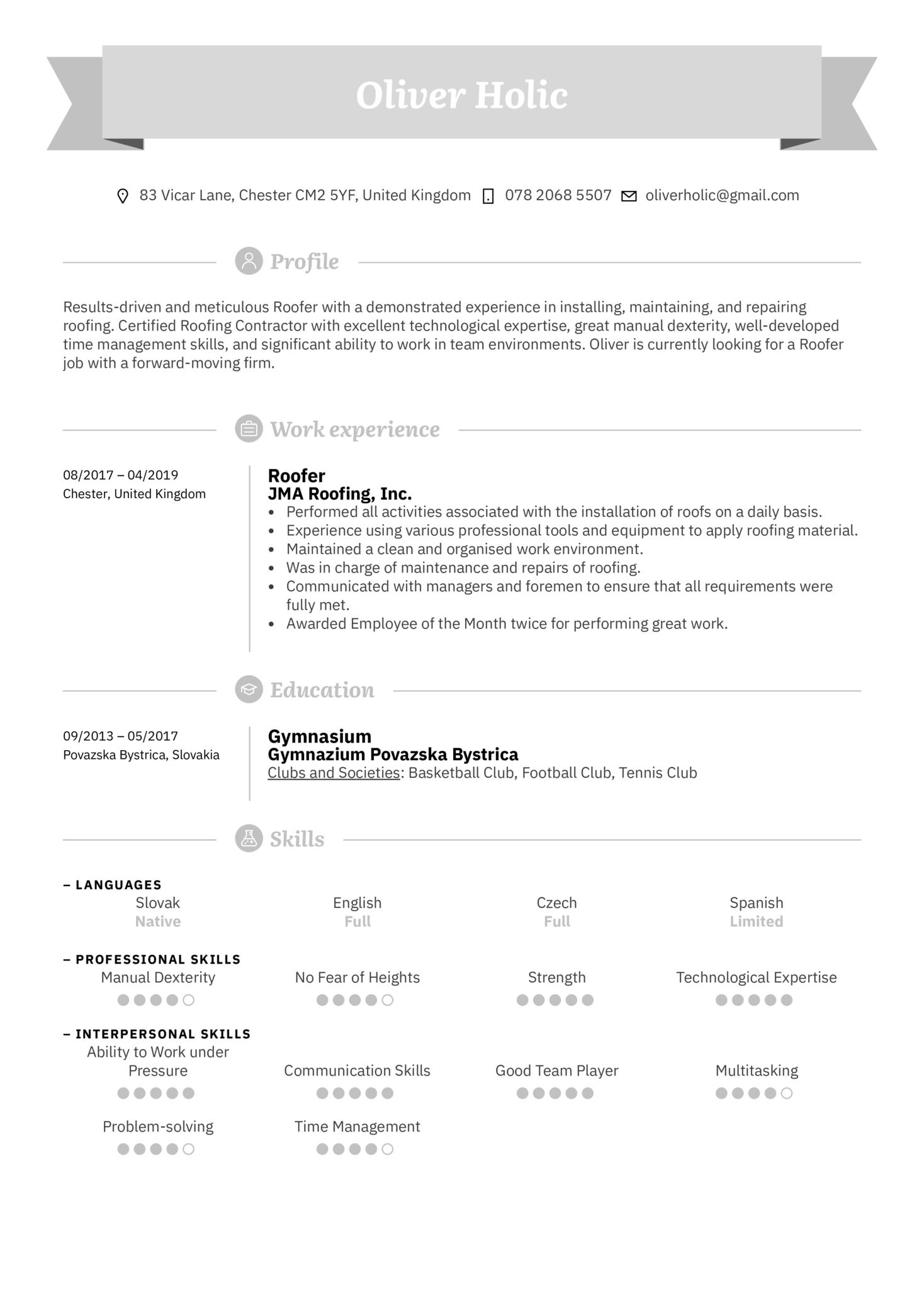 Roofer Resume Sample