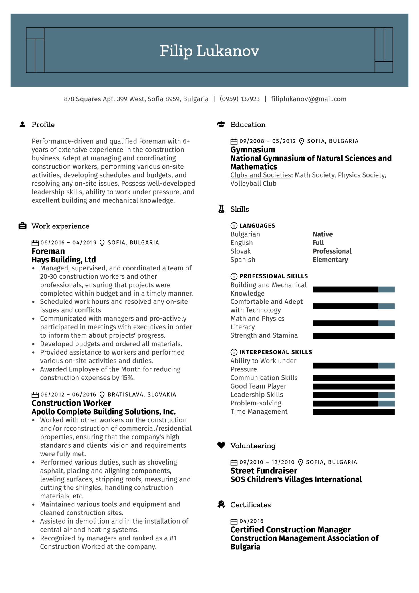 Foreman Resume Sample Kickresume