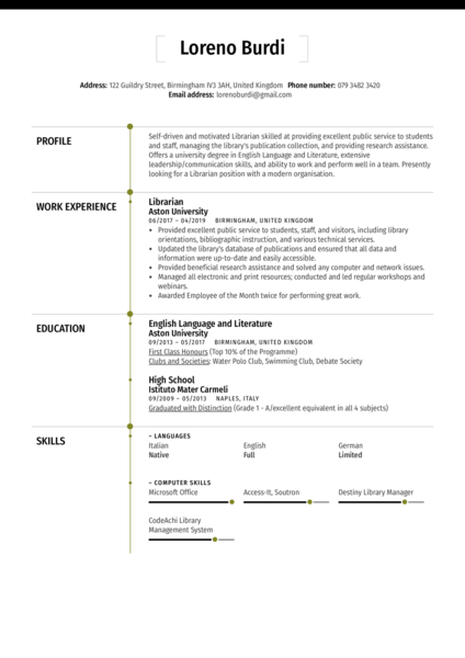 Librarian Resume Sample