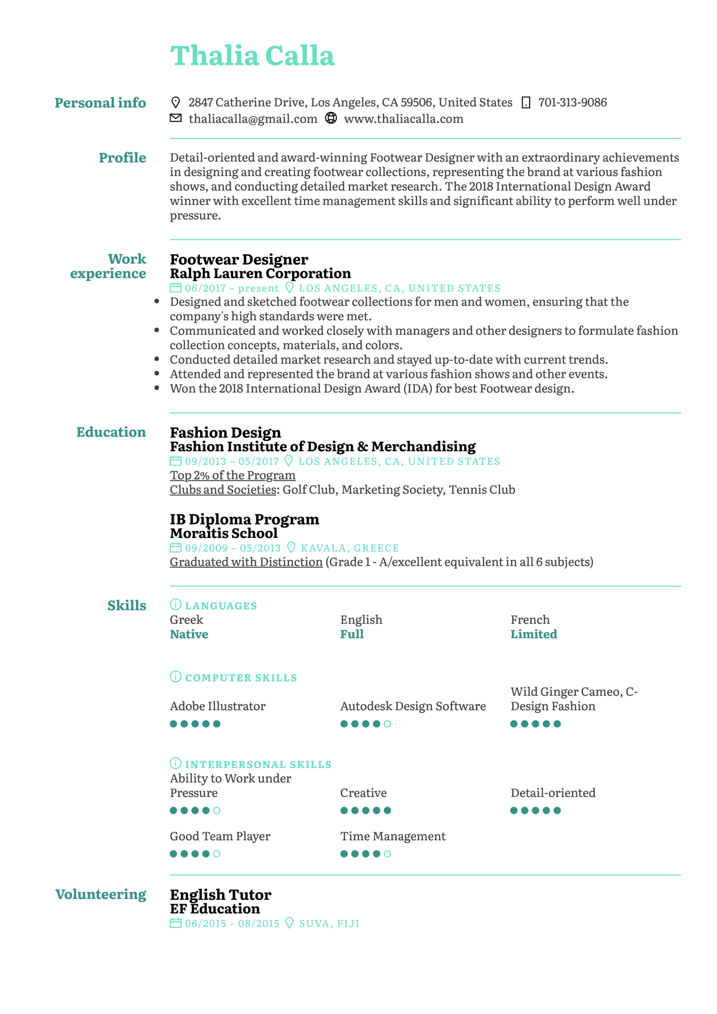 resume examples by real people  footwear designer resume sample