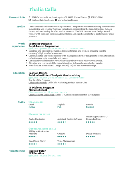 Footwear Designer Resume Sample