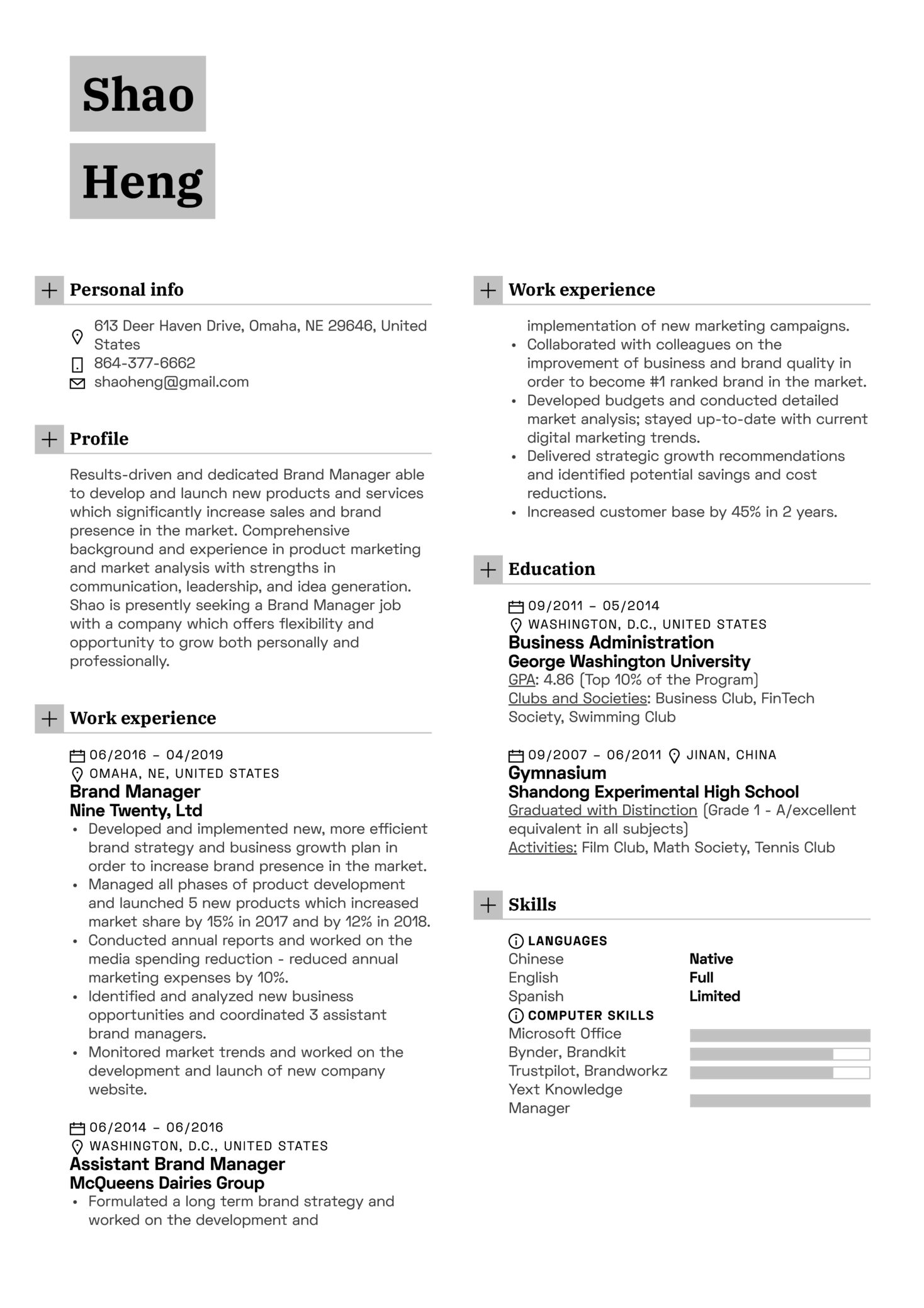Resume Examples By Real People Brand Manager Resume Example