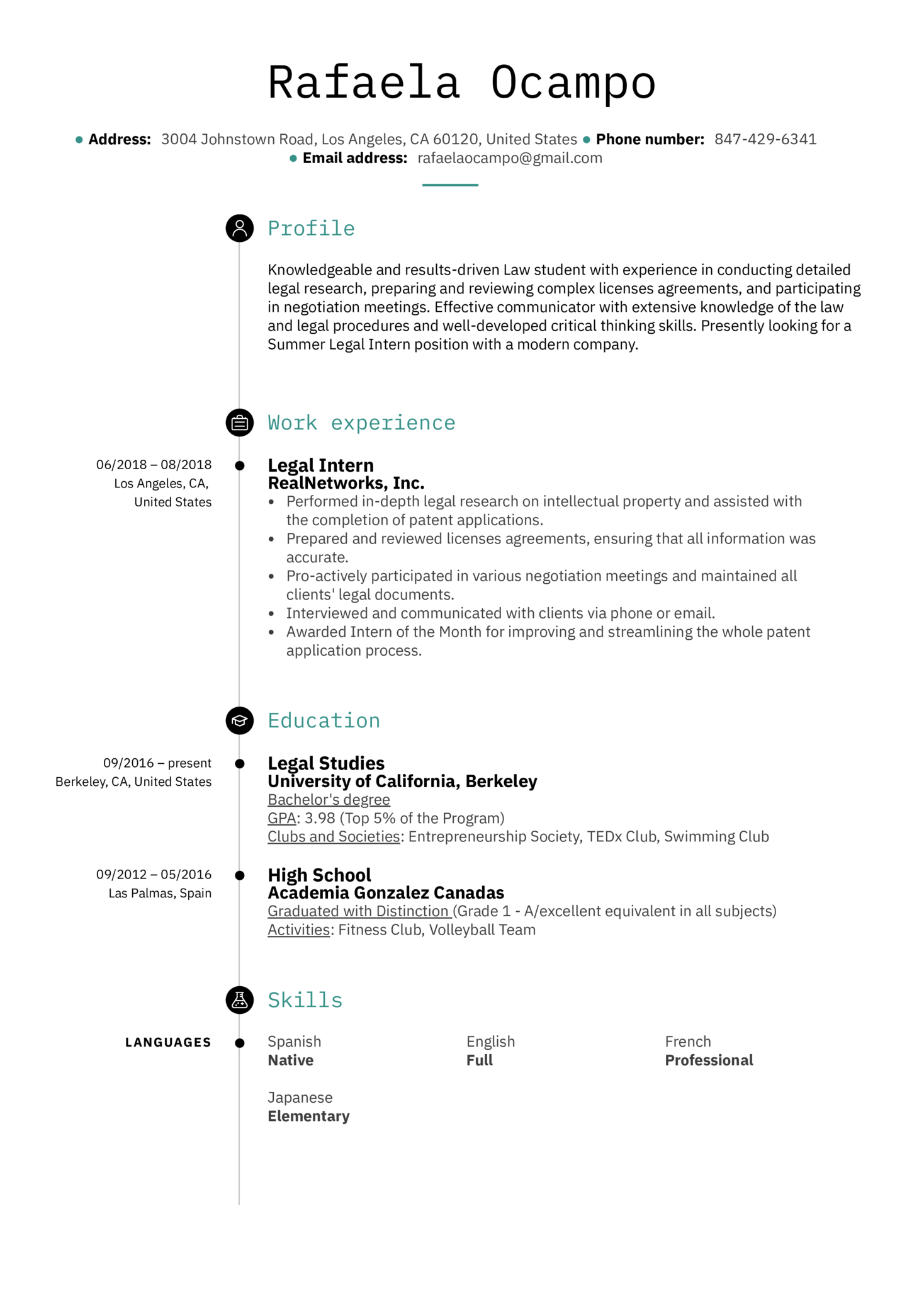 Legal Intern Resume Example (parte 1)