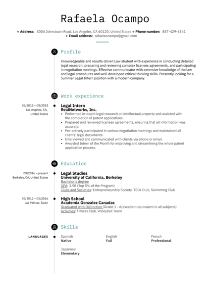 Legal Intern Resume Example