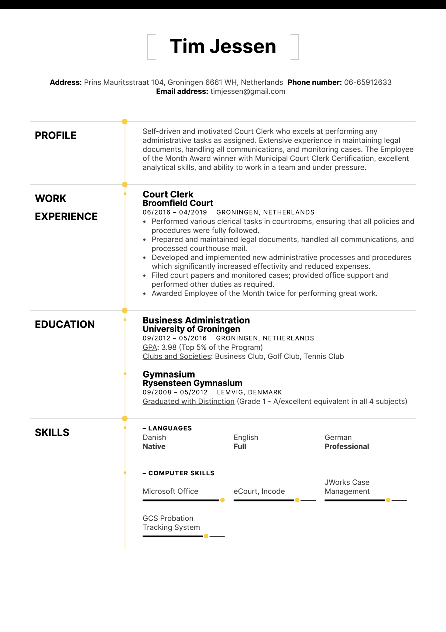 Resume Examples By Real People Court Clerk Resume Sample