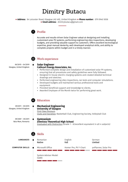 Solar Engineer Resume Sample