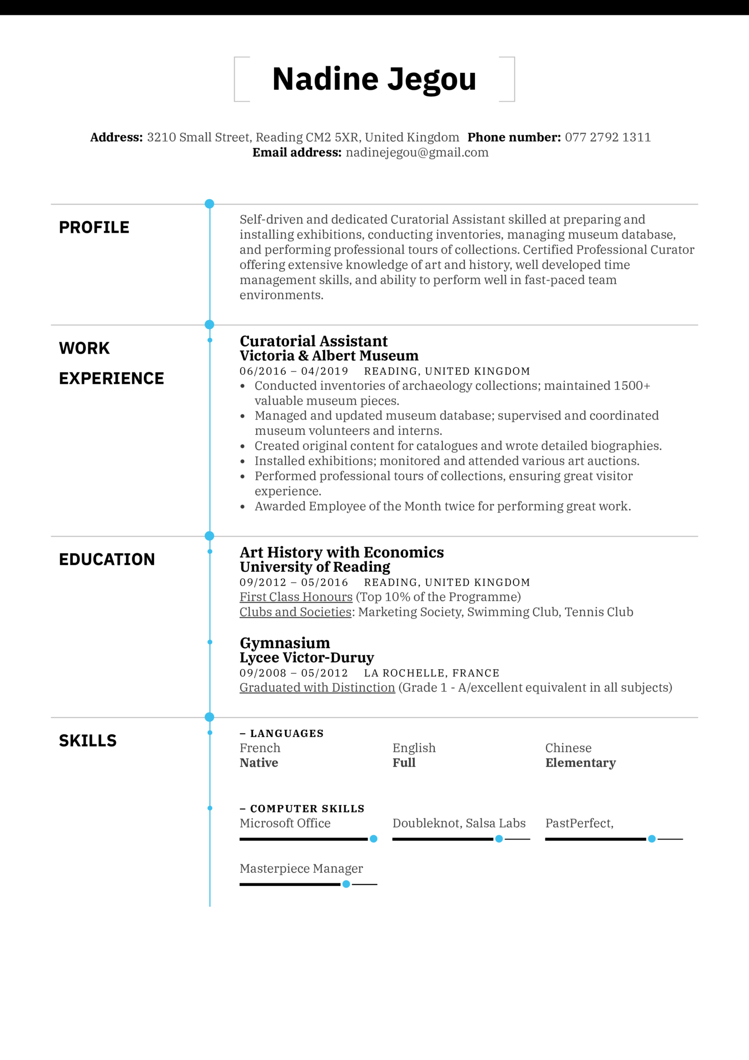 resume examples by real people  curatorial assistant