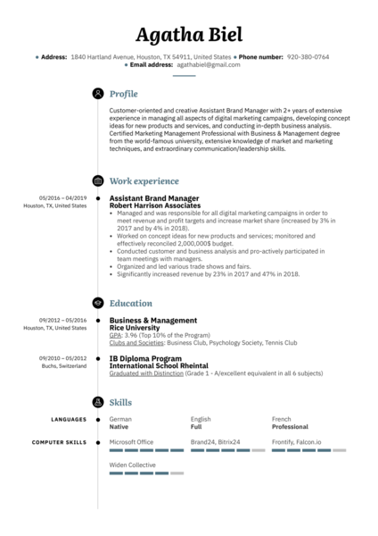 Assistant Brand Manager Resume Sample