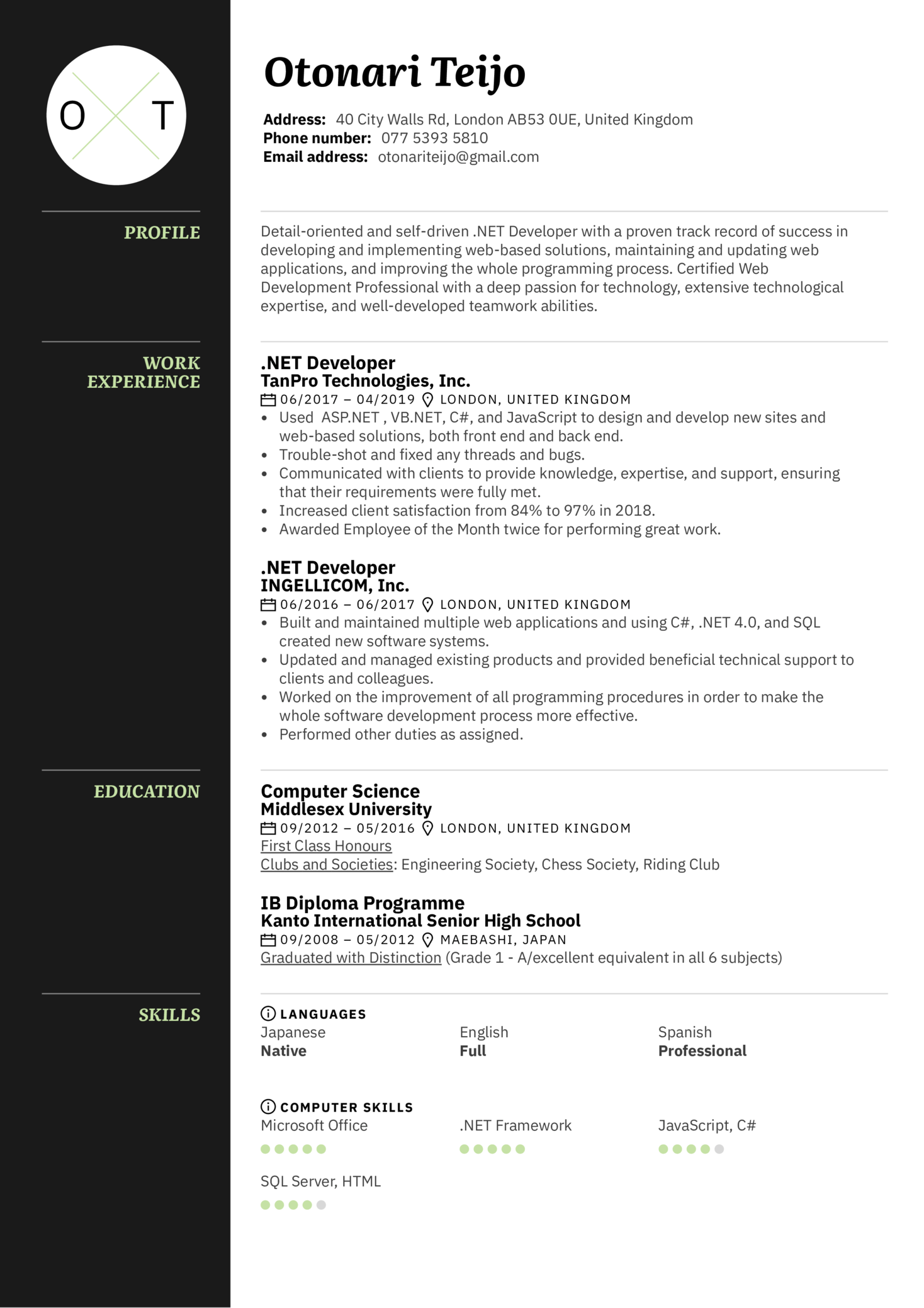 resume examples by real people   net developer resume