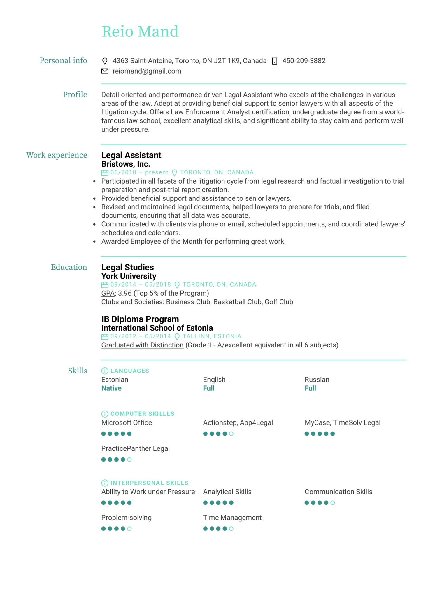 Legal Assistant Resume Example (Part 1)