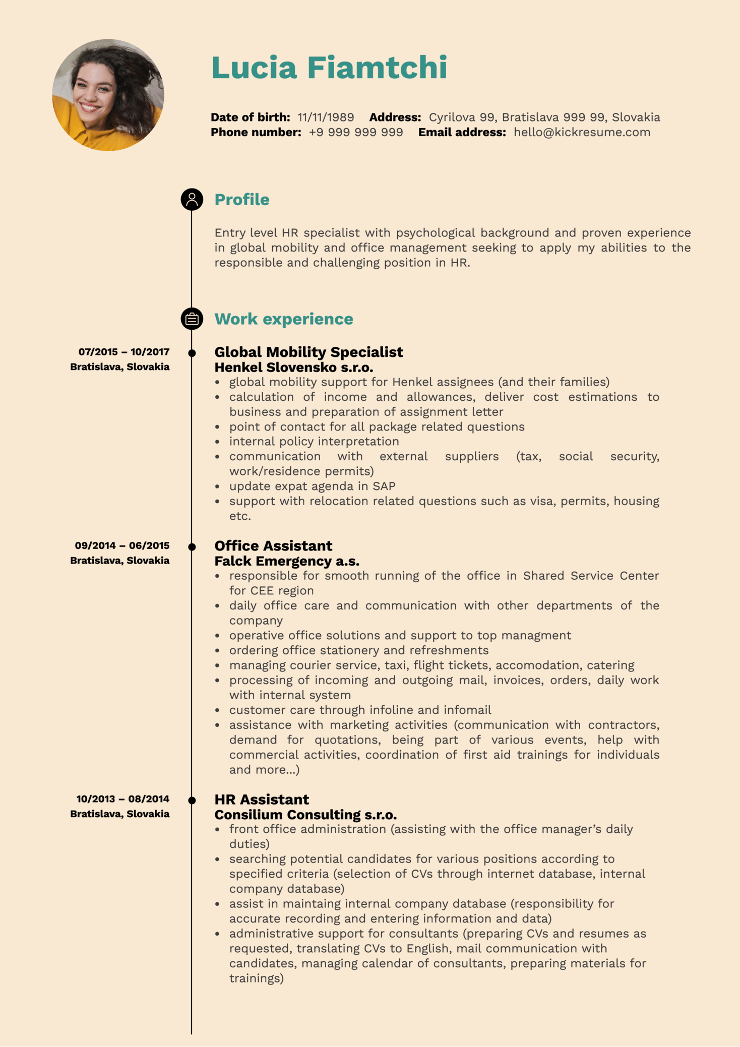 HR Operations Specialist Resume Sample (časť 1)