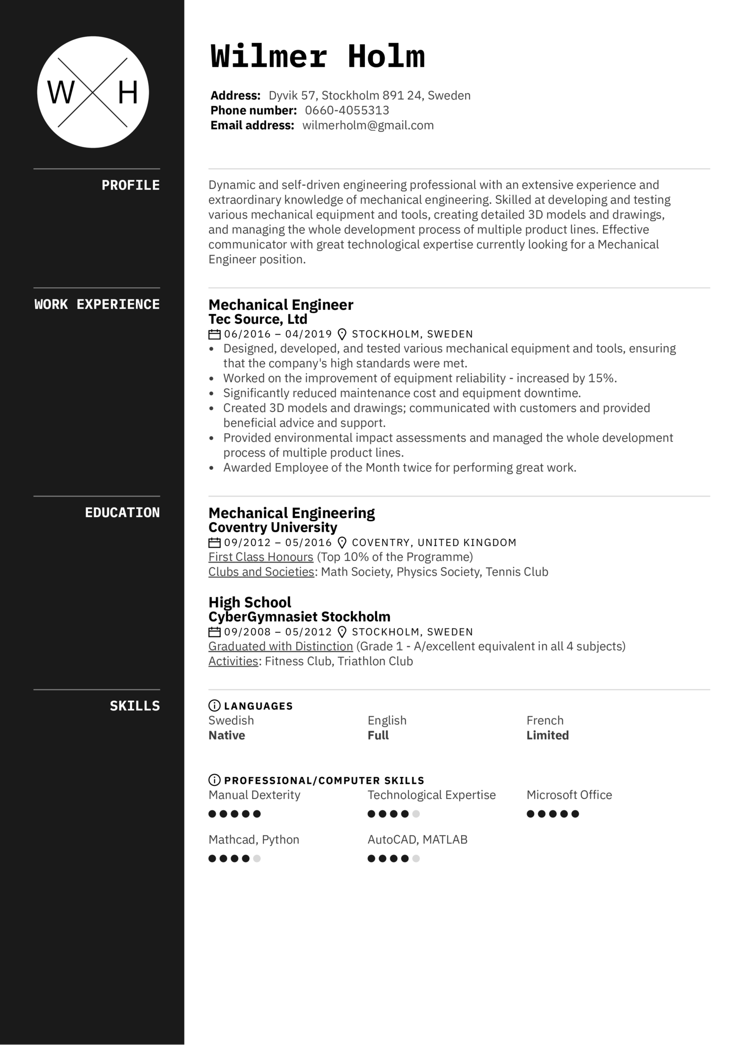 Mechanical Engineer Resume Sample (parte 1)
