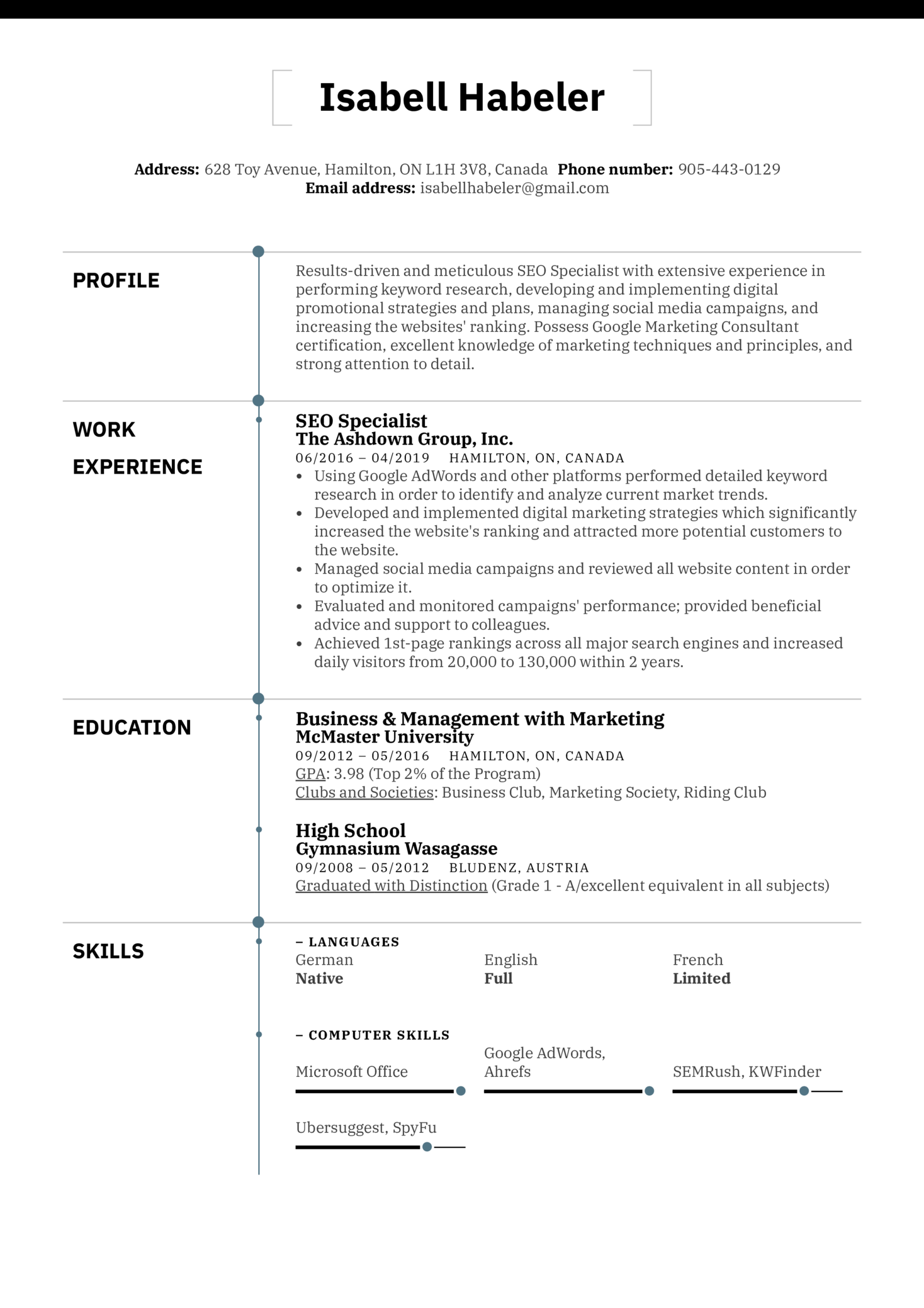 resume examples by real people  seo specialist resume sample