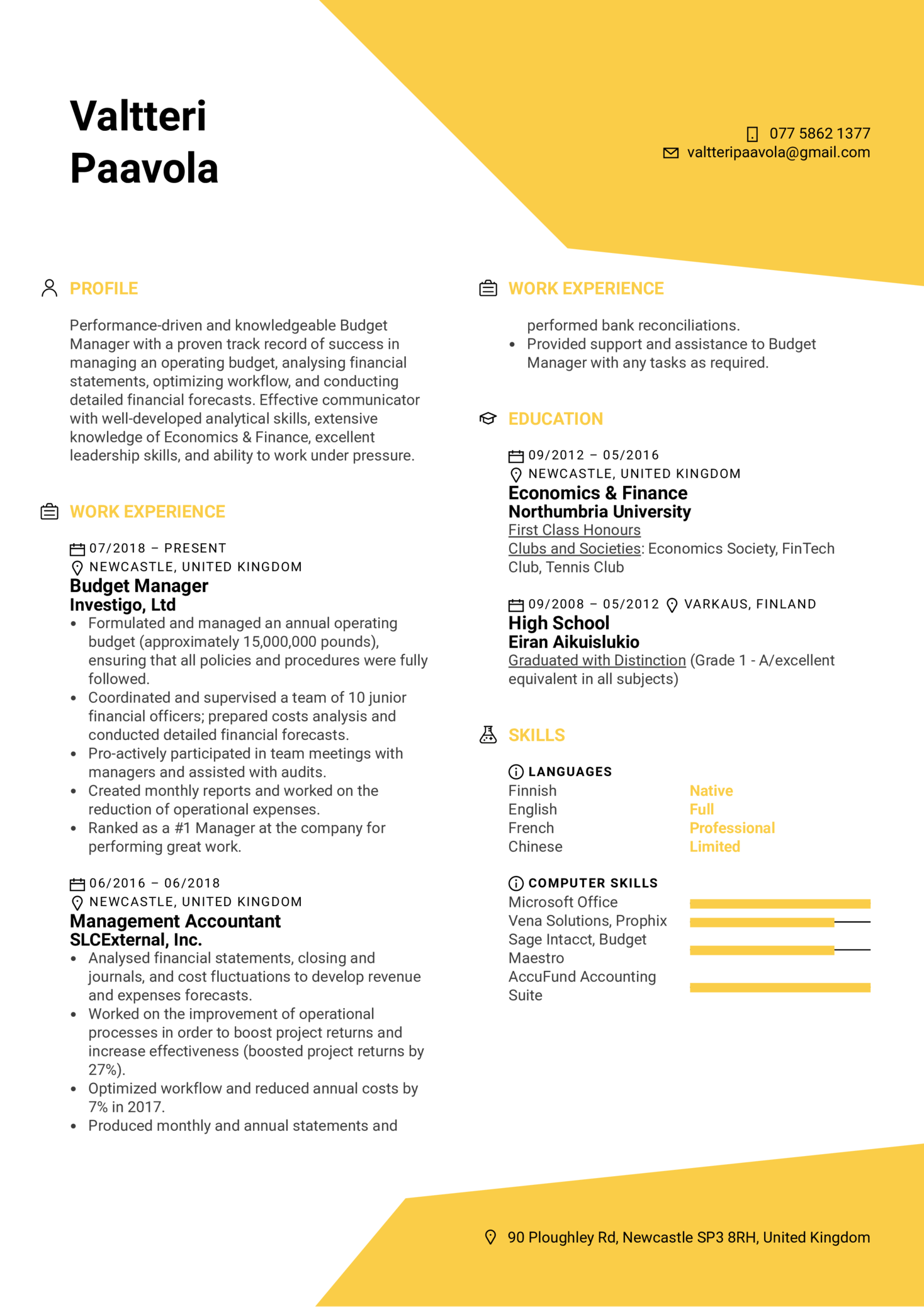 Budget Manager Resume Example (Part 1)