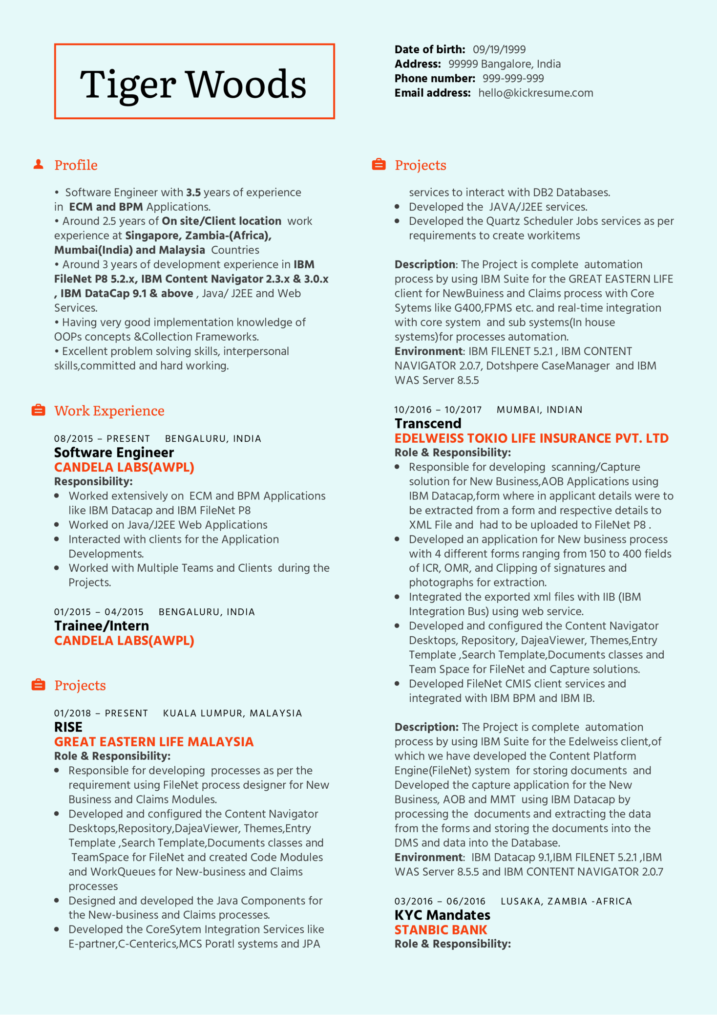Ibm Software Engineer Resume Sample Kickresume