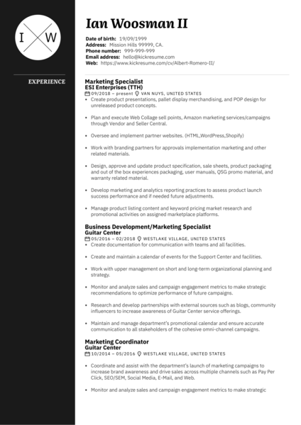 Marketing Specialist Resume Sample