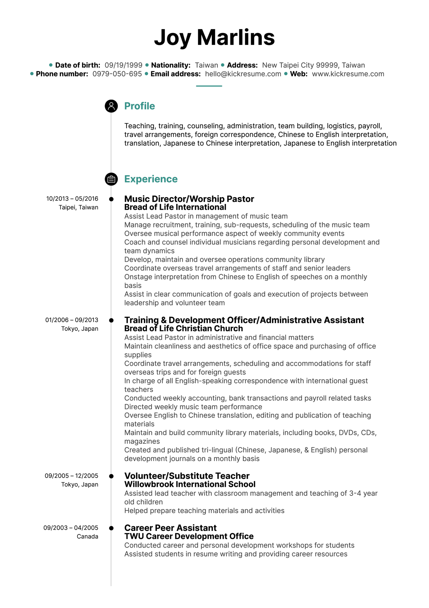 Resume Examples By Real People English Teacher Cv Sample Kickresume
