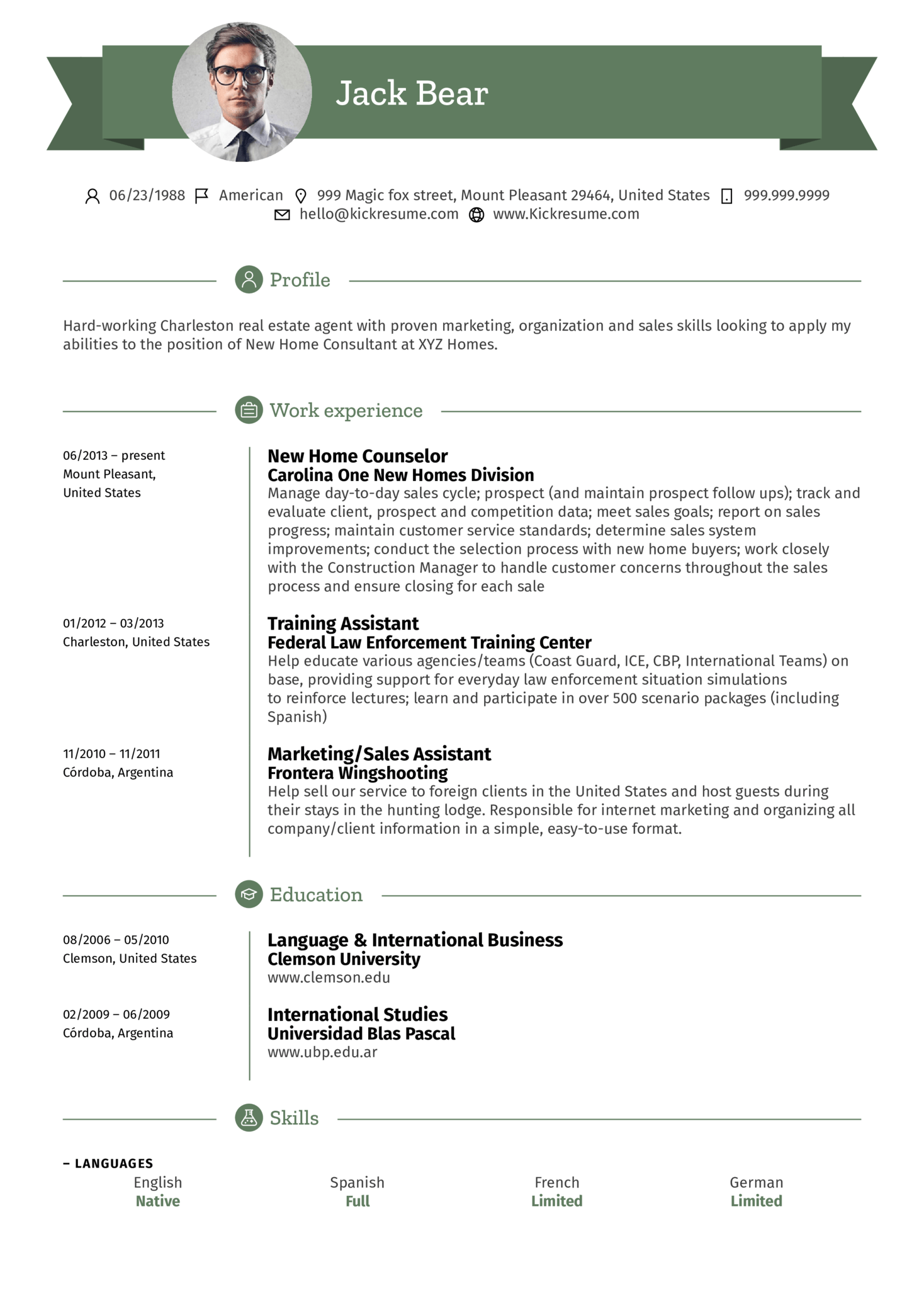 Assistant, Real Estate Agent resume example