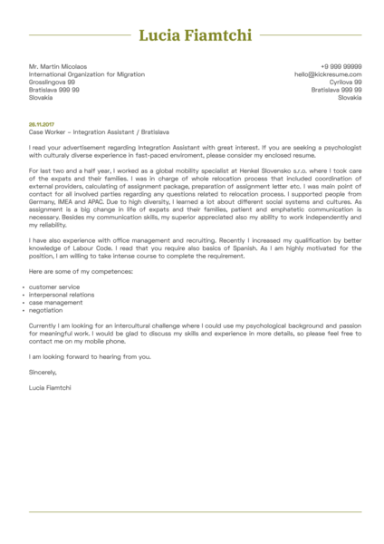 Human Resources (HR) Cover Letter Sample