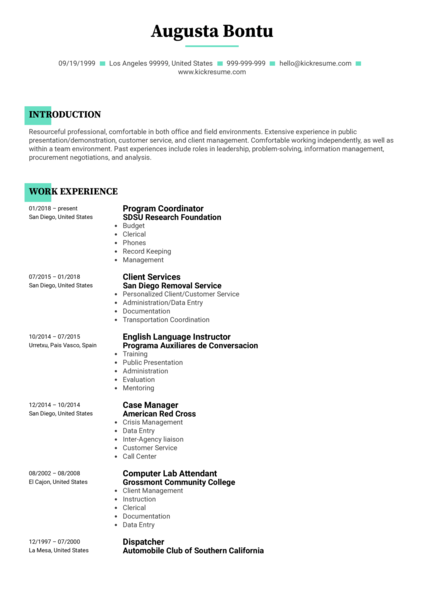 San Diego State University Project Coordinator CV Sample
