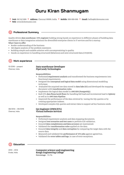 Integration Engineer CV Sample