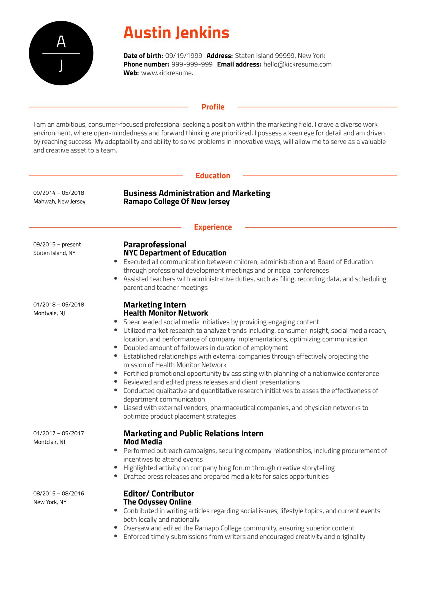 Project Coordinator at Ogilvy Health Resume Sample