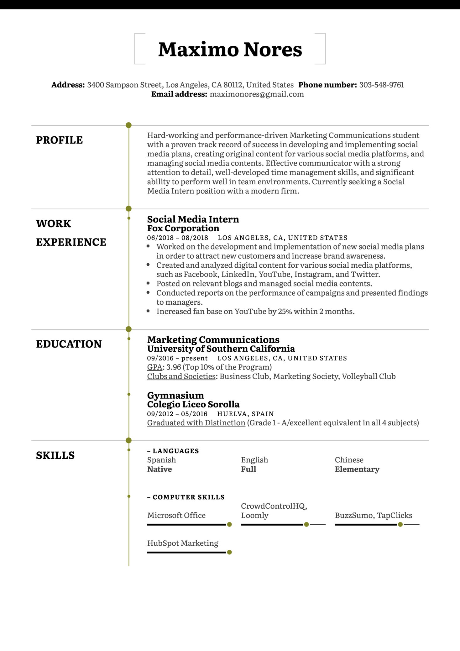 resume examples by real people  social media intern resume example