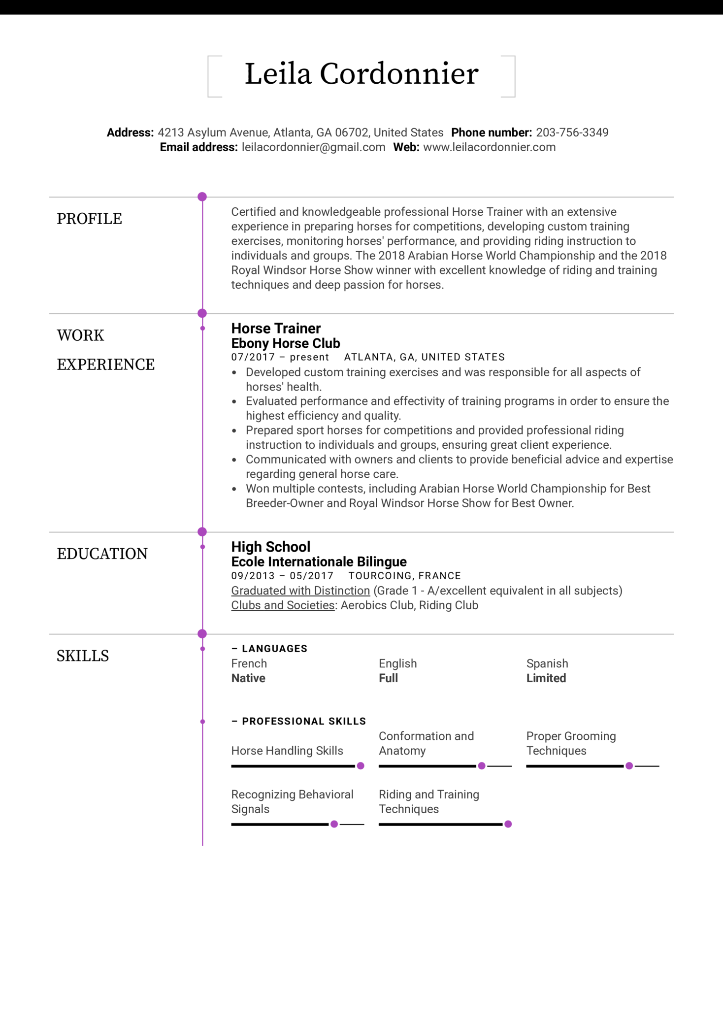 Horse Trainer Resume Sample (Part 1)