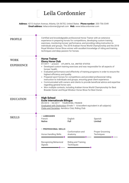 Horse Trainer Resume Sample