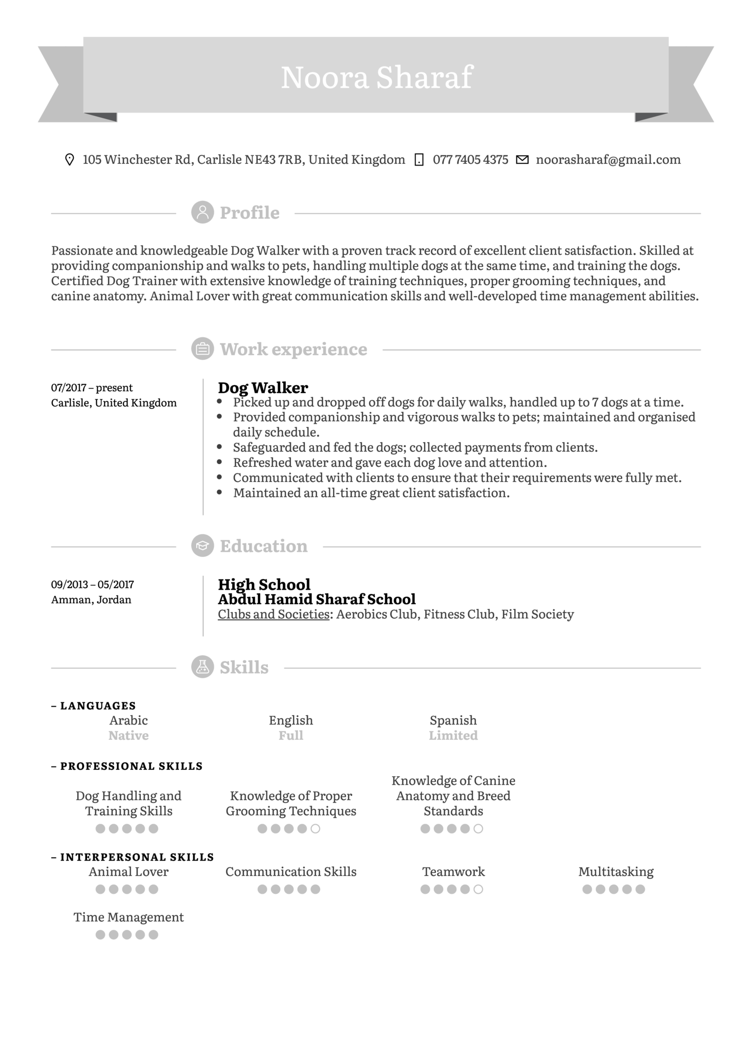 Dog Walker Resume Sample