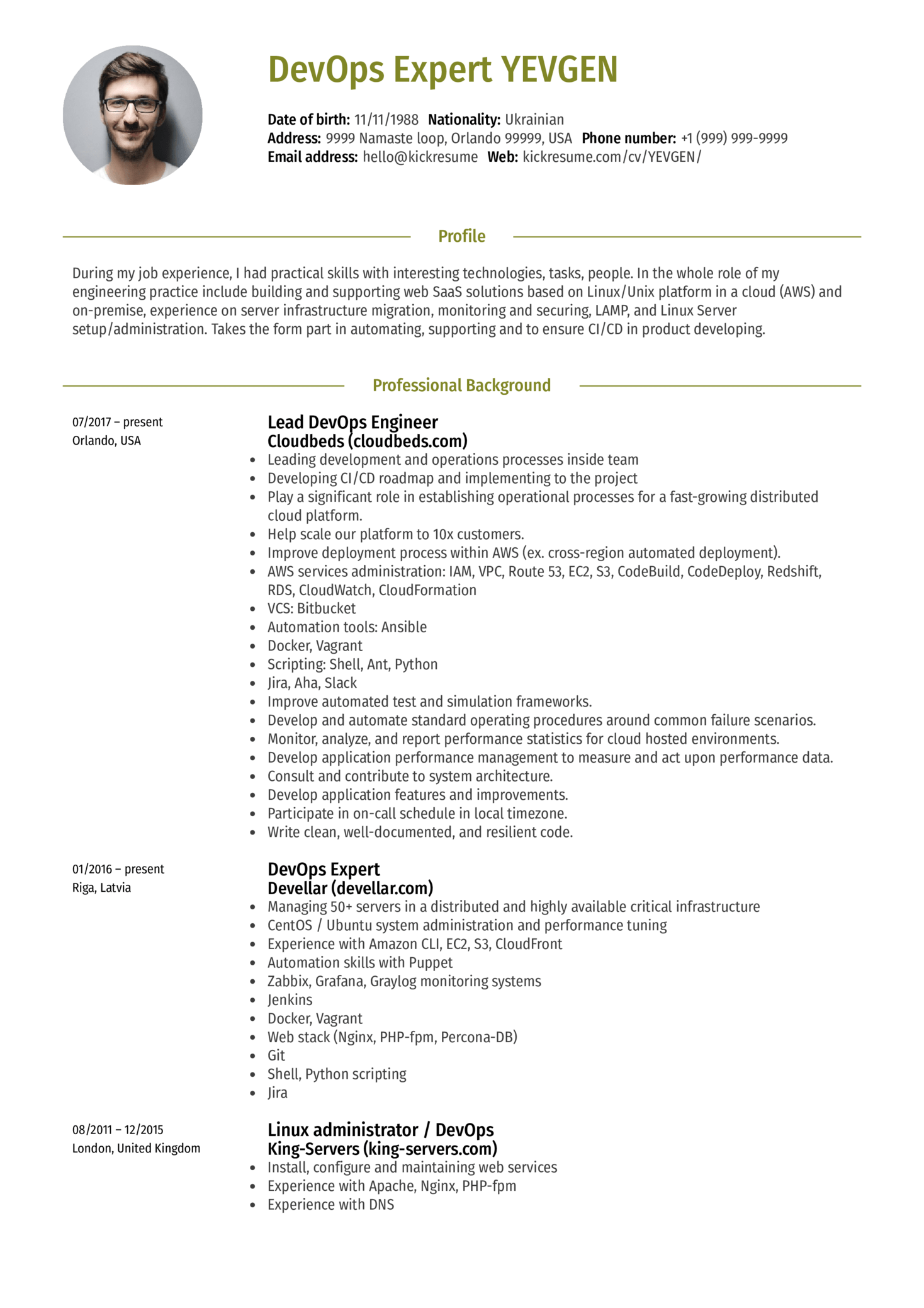 lead devops engineer resume sample
