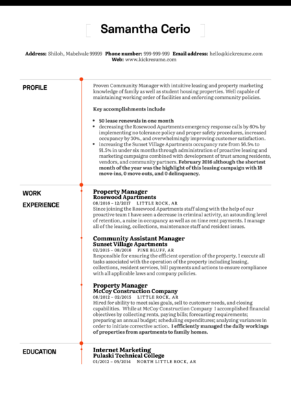 Property Manager CV Example