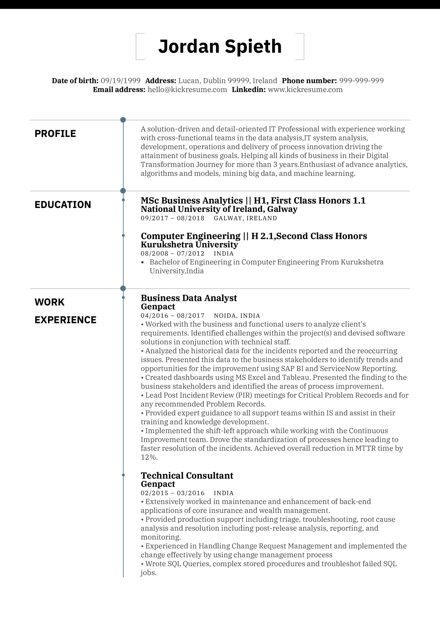 Business Analyst Resume Sample (parte 1)