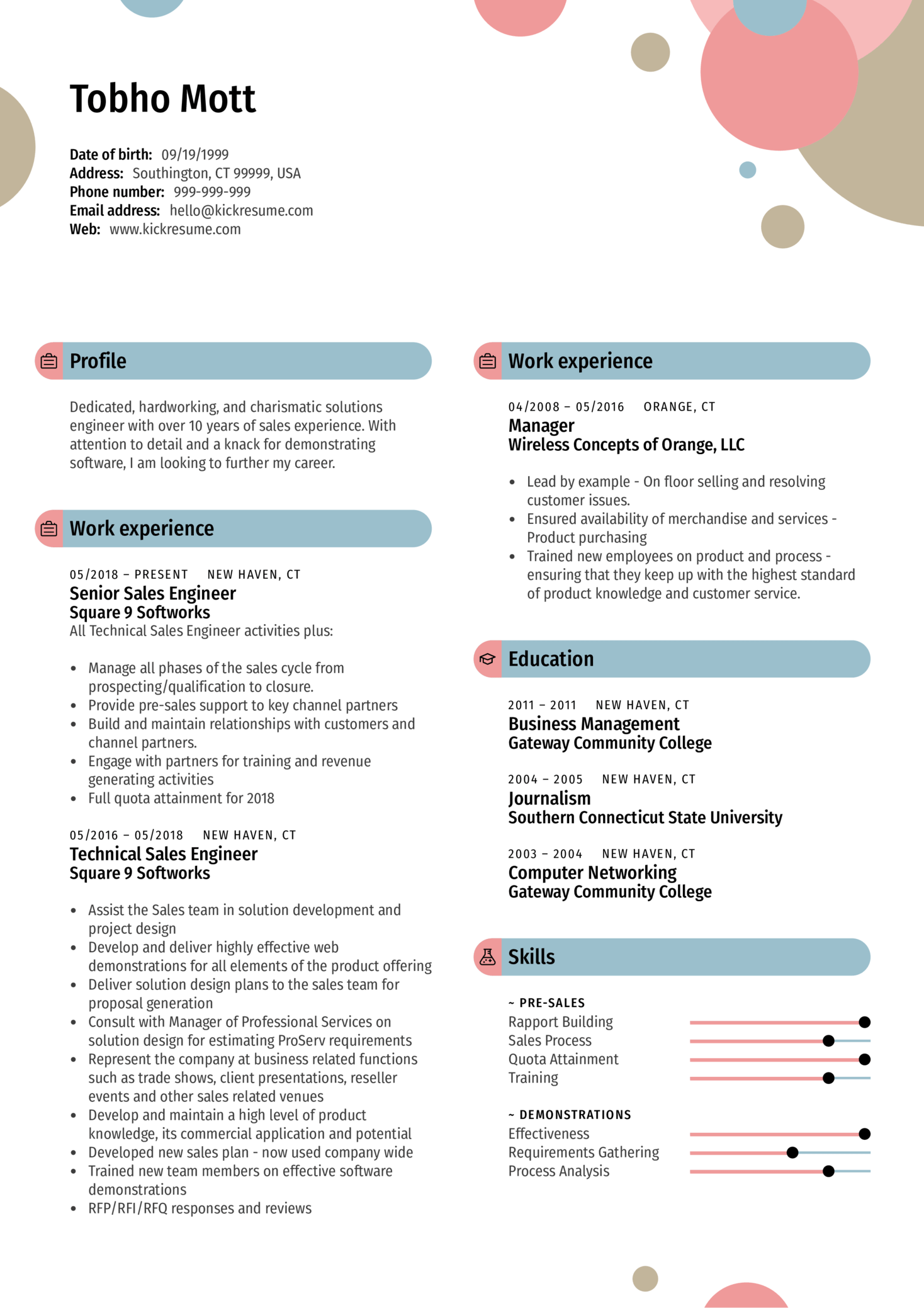 Sales Manager Resume Sample