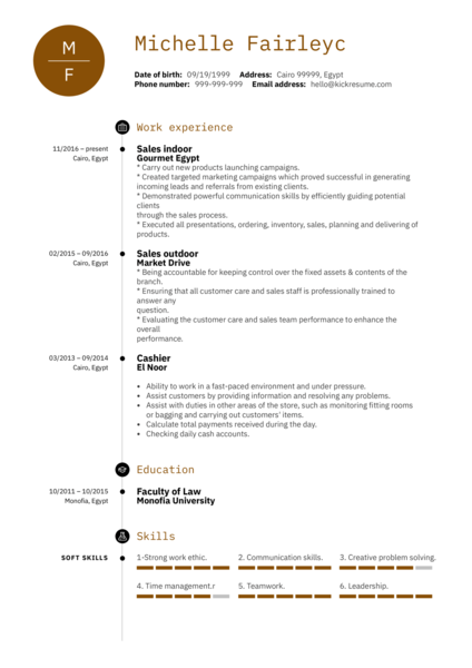 Sales Representative CV Example