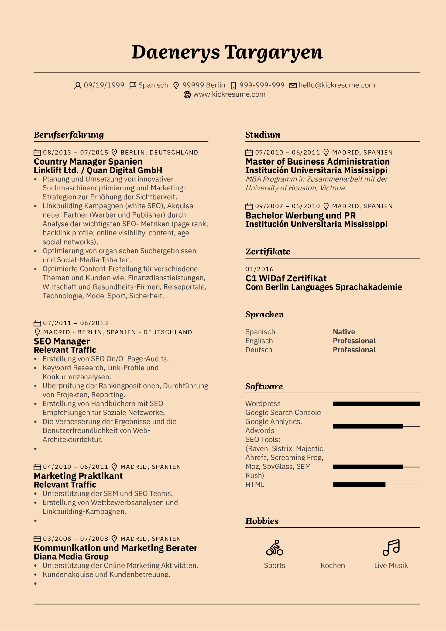 Customers Support Assistant Resume Sample (german)