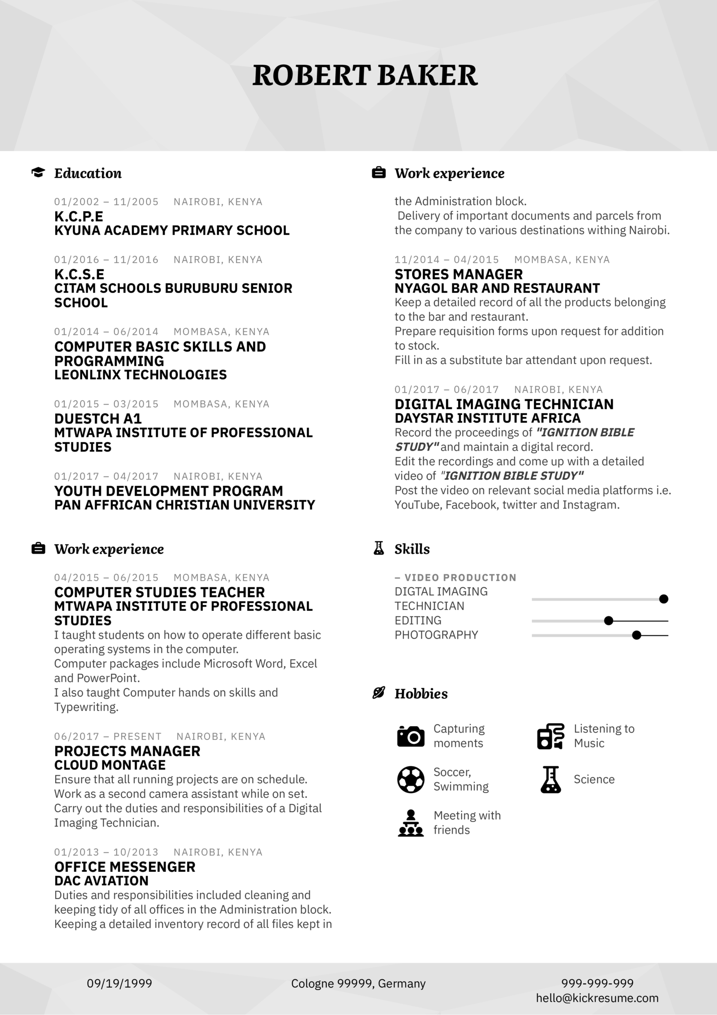 Service Manager Resume Sample (Part 1)