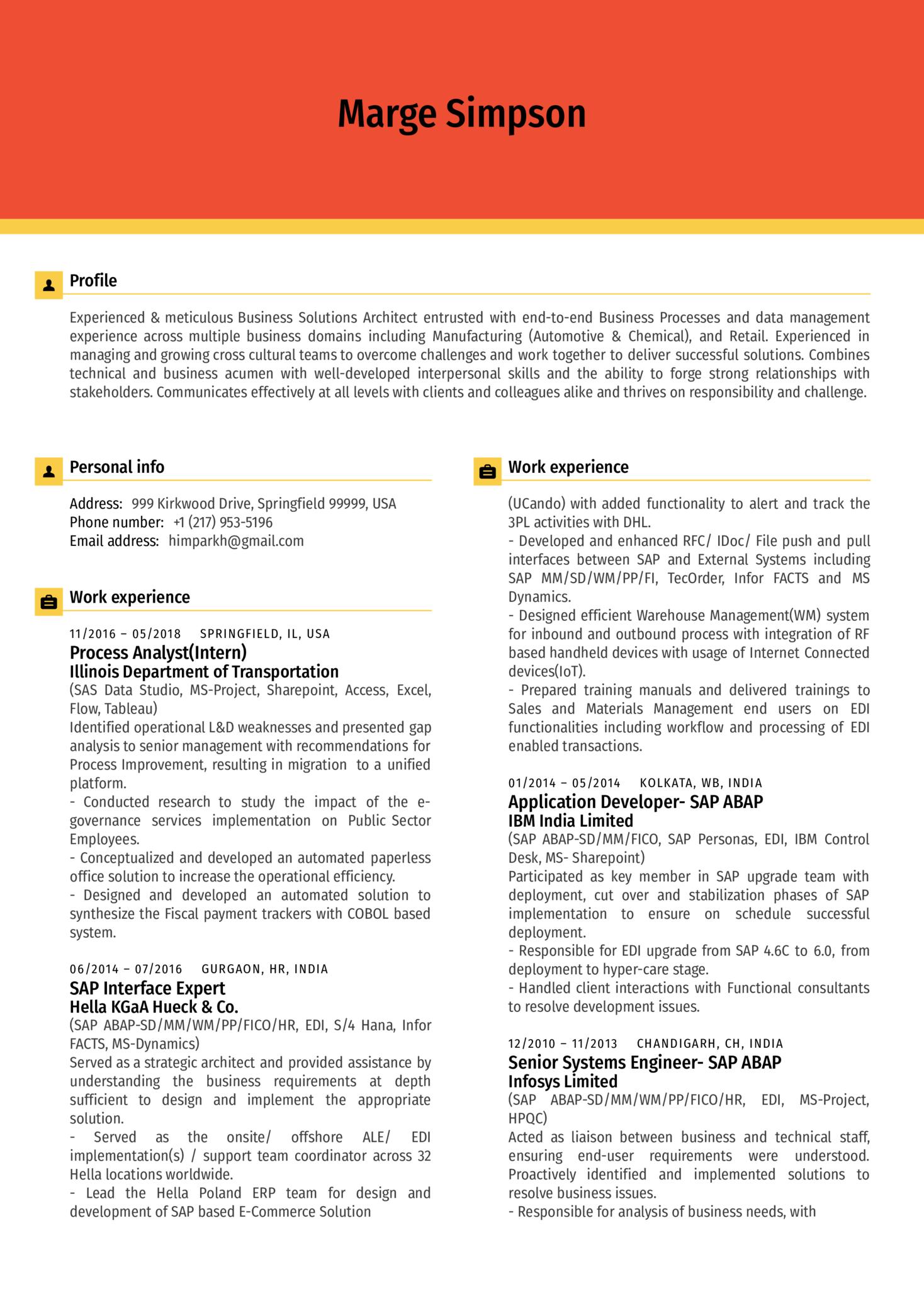 Senior Business Analyst Resume Sample (Part 1)