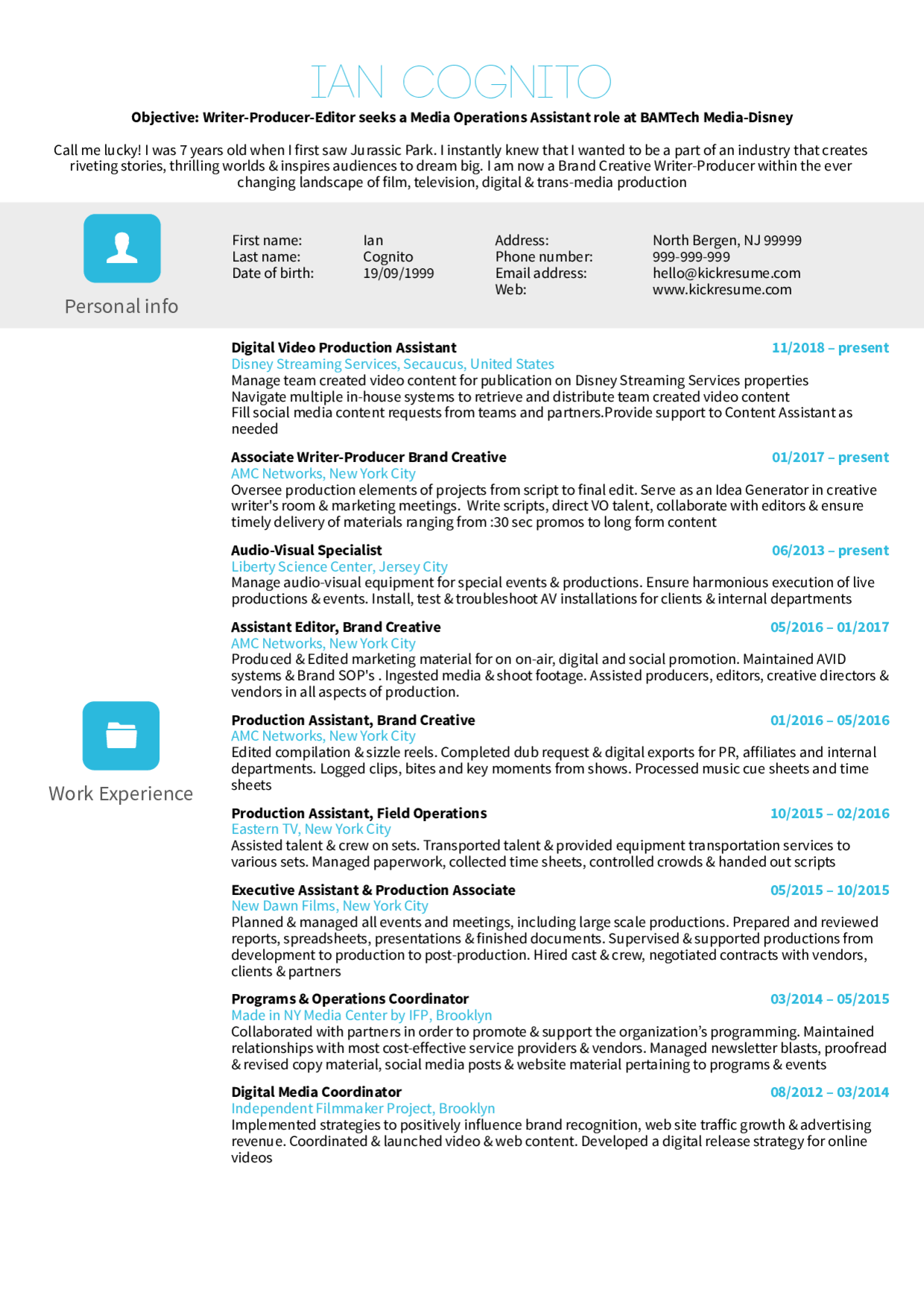 resume examples by real people  video production assistant at disney cv example